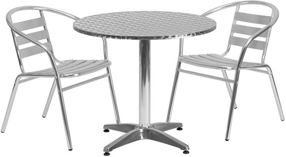 Flash Furniture TLH-ALUM-32RD-017BCHR2-GG 31.5'' Round Aluminum Indoor-Outdoor Table with 2 Slat Back Chairs