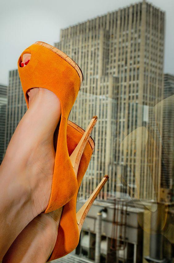 Seeking new heights in Giuseppe Zanotti mustard stilettos with a cork heel!