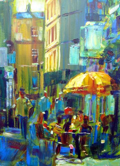 'Yellow Unbrella' acrylic painting by Hashim Akib, created in 40 - 45 minutes