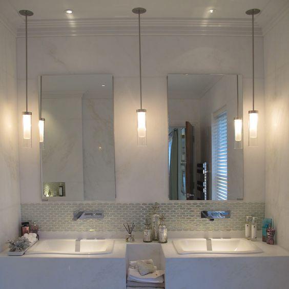 Lighting Basement Washroom Stairs: How High Should Bathroom Pendants Be Hung Above Sink