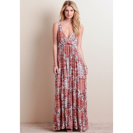 Raga Sunset Gold Maxi Dress featuring polyvore, women's fashion, clothing, dresses, gold dress, empire waist maxi dress, surplice dress, holiday party dresses and bohemian style dresses