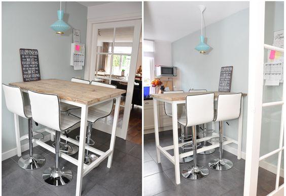 Bar keukentafel 39 high 39 hoge tafel met wit gelakt onderstel en voorzien van een steigerhouten - Witte keuken voorzien van gelakt ...