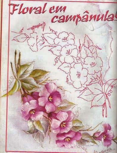 Patrones and diy y manualidades on pinterest - Flores pintadas en tela ...