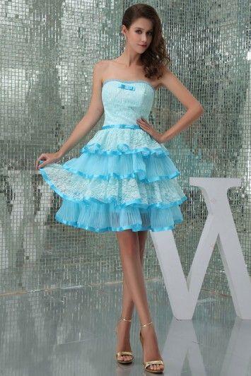 blue dress Prinsess Sexy Strapless Lace Ruffles Bowknot Mini Cockatil Dresses