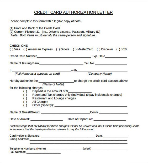 sample credit card authorization letter free examples writing - creditcard authorization letter