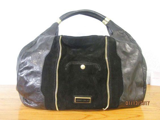 jimmy choo purses outlet vs4e  Jimmy Choo Mandah Hobo Expandable Handbag Black Leather Black Suede Gold  Trim $32495