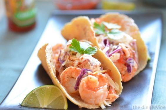 Shrimp Tacos with Jalapeno Yogurt Slaw.