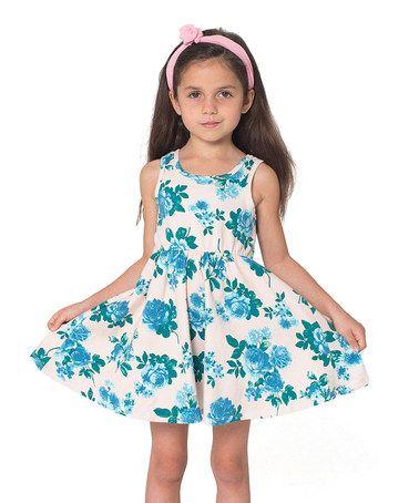 Look what I found on #zulily! Crème & Blue Tea Rose Skater Dress - Toddler & Girls #zulilyfinds