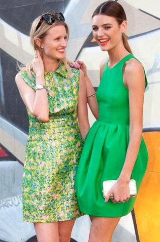 love the green dress on the right