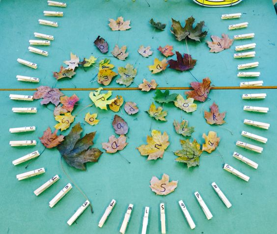 Phonics match: match sounds on leaves to pegs by pegging them on. Inspired by tishylishy pin