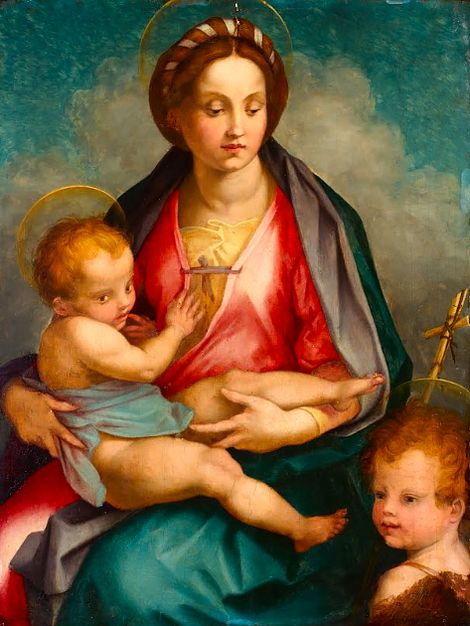 Andrea del Sarto:  Madonna and Child with St John (late 16th century):