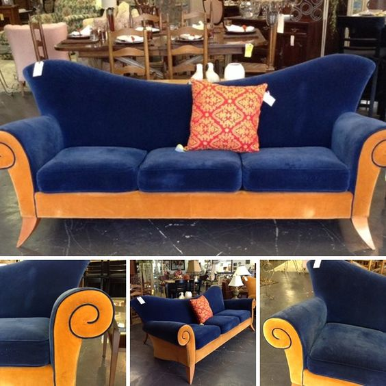 Contemporary Sofa   Urbana Furniture Alexandria Collection Blue/Gold Curved  Sofa Retail @ $2870.00