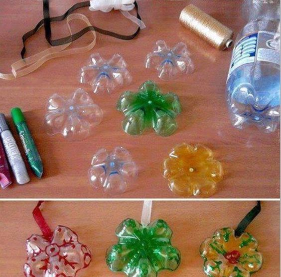 Plastic bottle decorations crafts pinterest bottle for Plastic bottle decoration images