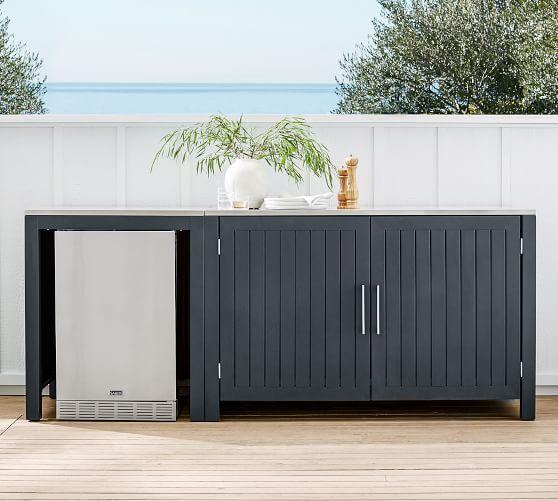 Indio Metal Outdoor Kitchen Refrigerator Double Door Cabinet Slate Pottery Barn In 2020 Outdoor Kitchen Cabinets Outdoor Kitchen Outdoor Refrigerator Cabinet