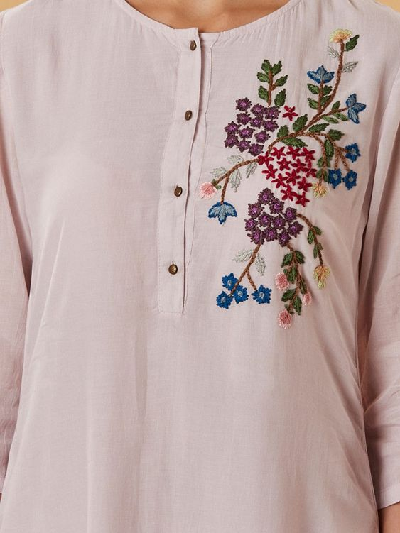 Buy Light Mauve Embroidered Cotton Silk Kurta online at Theloom