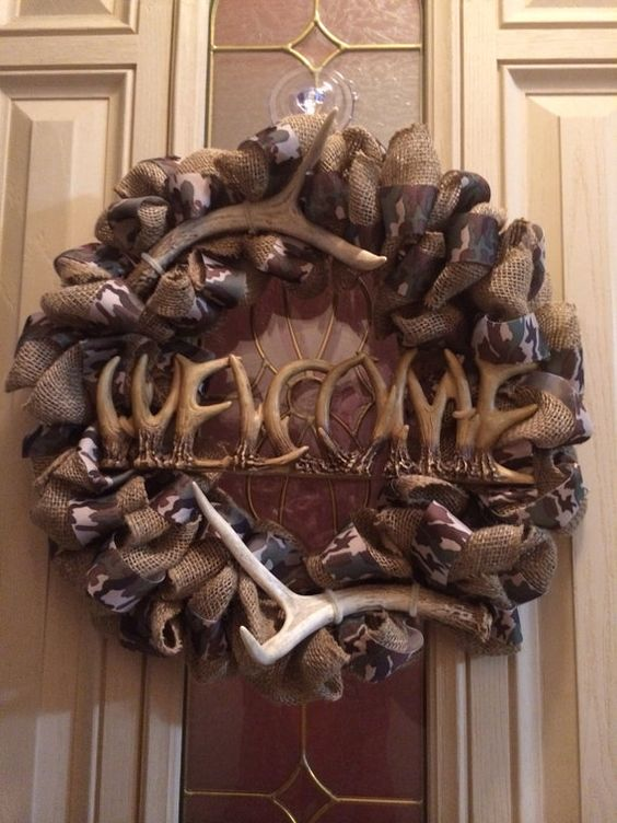 Ready to ship rustic antler camo and burlap wreath with welcome sign on Etsy, $60.00