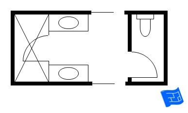 Jack and jill bathroom floor plan with shower and a separate area for the toilet jack and - Jack and jill bathroom floor plans ...