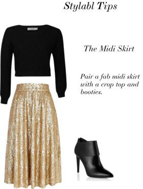 A Style Tip- Shop Midi Skirts. How to wear a a-line sequin midi ...