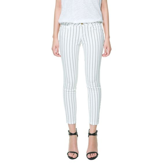 Zara Cropped Woven Stripe Trousers ($30) ❤ liked on Polyvore featuring pants, capris, ecru, woven pants, zara trousers, cropped pants, cropped capri pants and stripe pants