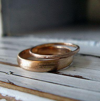 18K Rose Gold Wedding Band Set Matte Finish by HotRoxCustomJewelry, $790.00