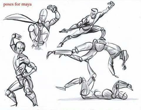 Bocetos Y Guias Para Dibujantes Poses De Pelea Como Dibujar Cosas Dibujo De Posturas Bocetos