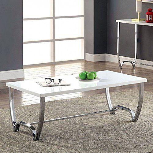 Furniture Of America Trina White And Chrome Coffee Table Coffee