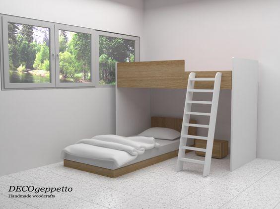 Κουκέτα για εφηβικό δωμάτιο , λύση για εξοικονόμηση χώρου - συνδυασμός ανοιχτής δρυς με λευκή λάκα