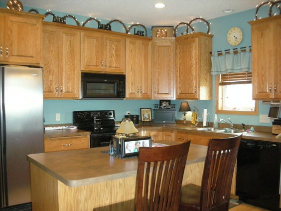 Light Turquoise Kitchen Walls With Brown Cabinets Not This Blue New Kitchen Pinterest