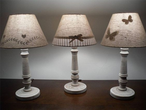 Beige cream table lamp butterfly bow spots shade light chic shabby ...