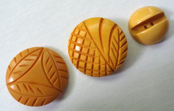 Set of Three Vintage Yellow Bakelite Buttons