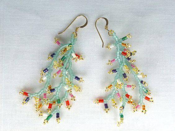 Wildflowers in the Sage Seed Bead Earrings by SierraBeader on Etsy, $34.00
