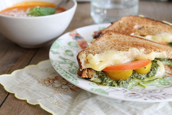 Pesto Grilled Three-Cheese Sammies (swiss, smoked gouda and havarti)