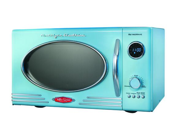 Turquoise retro microwave