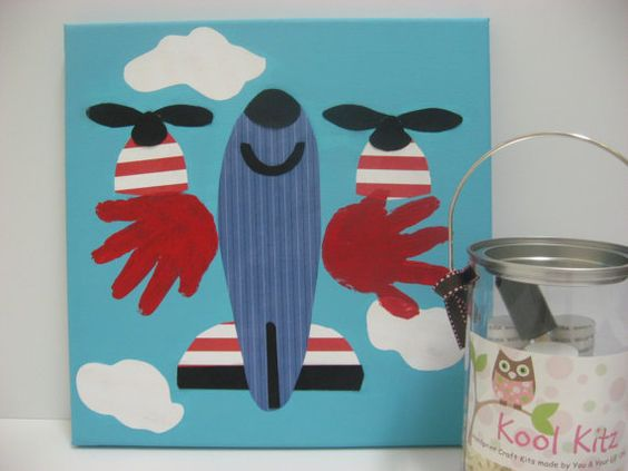 Hand print Airplane Wall Art Craft Kit