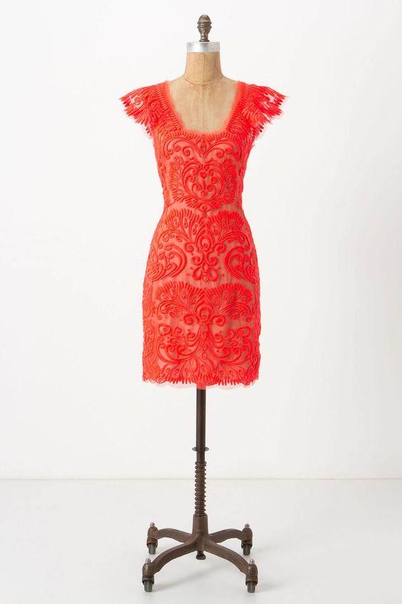 Sunblaze Lace Dress - Anthropologie.com: Coral Lace, Sunblaze Dress, Anthropologie Sunblaze, Red Lace Dresses, Orange Lace, Sunblaze Lace