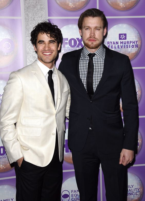 Darren Criss and Chord Overstreet attend the Family Equality Council's Los Angeles awards dinner at The Beverly Hilton Hotel on February 28, 2015.