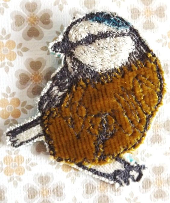 Bird Brooch Freestyle Machine Embroidery by MrsBertimus on Etsy, £10.00