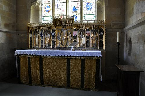 Stanton St Michael chancel gilded reredos with alabaster figures 1915 by Sir Ninian Comper carved by William Gough -131