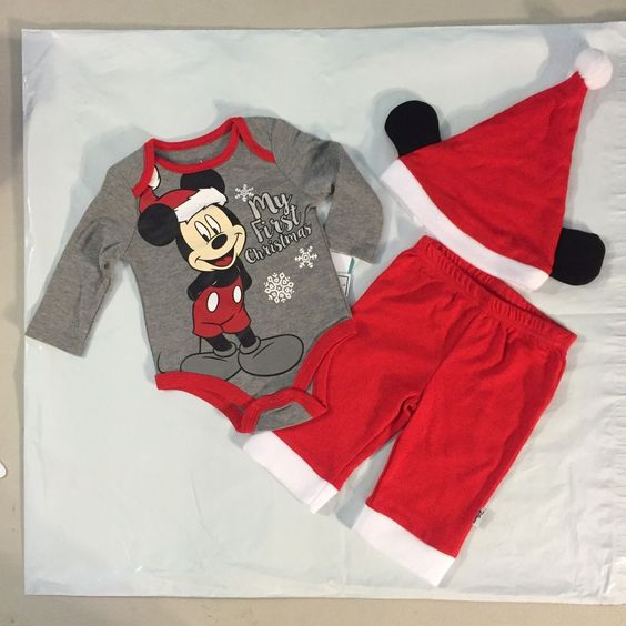 adorable 3 piece #disney #baby mickey my first christmas outfit boys sz 0/3 m nwt from $16.99