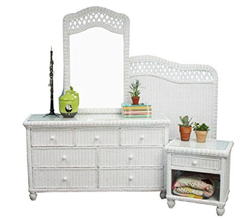 Rattan Man Tropical 4 Piece Wicker Bedroom Set With Glass Tops In White Stain White Wicker Bedroom Furniture Wicker Bedroom Furniture Wicker Furniture Redo