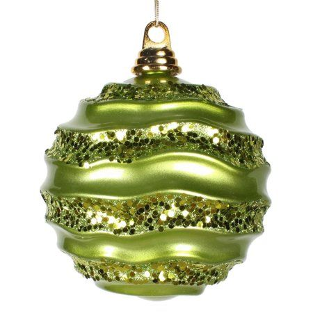 8 Lime Candy Glitter Wave Ball Walmart Com Ball Ornaments Candy Balls Green Candy