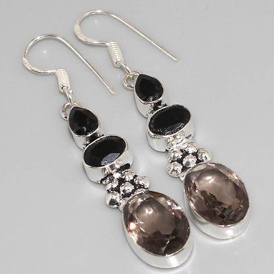 "JG0493 BEAUTIFUL ! Smoky Quartz, Black Onyx & 925 Silver Overlay Earrings 2.4"" - http://jewelry.goshoppins.com/fashion-jewelry/jg0493-beautiful-smoky-quartz-black-onyx-925-silver-overlay-earrings-2-4/"