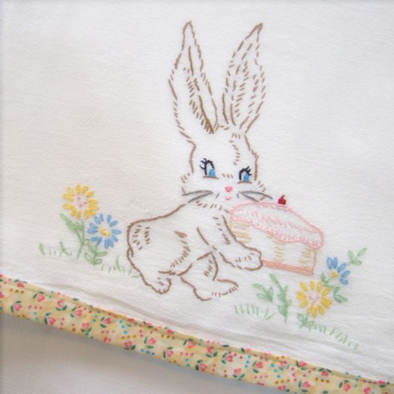retro embroidered tea towel.   From etsy seller CornflowerCreations.