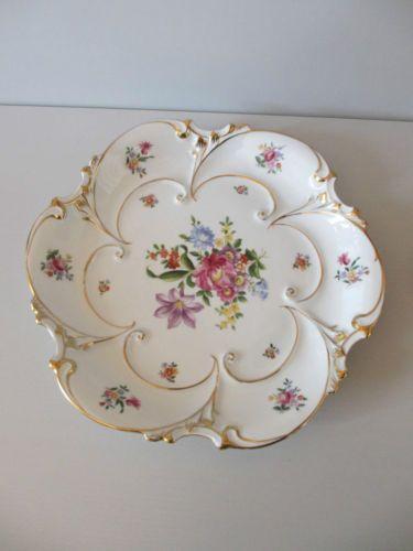 JLMENAU-Graf-von-Henneberg-C839-Schale-Zierschale-30cm-Blumen-Golddekor-Art-Deco