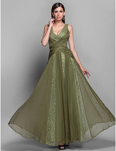 TS Couture® Formal Evening / Military Ball Dress - Open Back Plus Size / Petite A-line / Princess V-neck Floor-length Chiffon / Lace withDraping /   733747 2016 –  $139.99