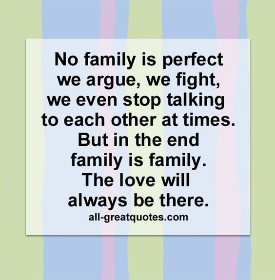 Quotes We Love Each Other: No Family Is Perfect... We Argue, We Fight. We Even Stop