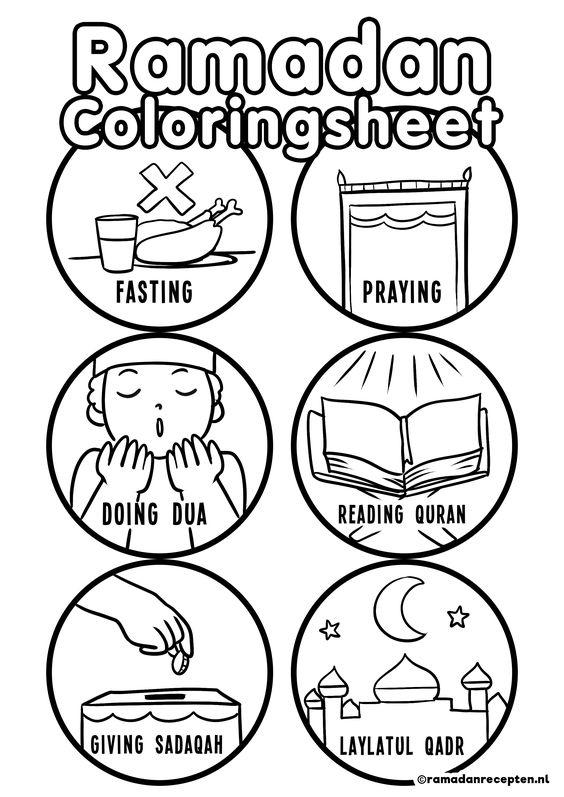 FREE PRINTABLE   6 Ramadan coloring sheets for kids   6 Ramadan kleurplaten voor kinderen   Ramadanrecepten.nl