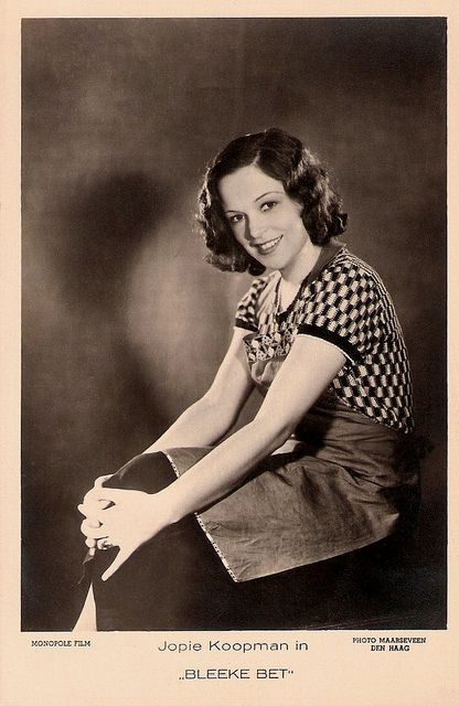 """Jopie Koopman (1910 - 1979) was one of the stars of the Dutch cinema of the 1930's. The pretty cabaret artist sang and played in several revues and early sound (talking) films."" #movies #vintage #actress #1930s #European #films"