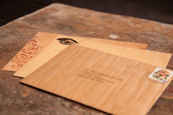 Wood Envelopes. Top Envelope is in Curly Maple.