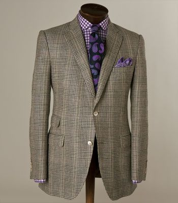 Great use of purple with this grey plaid jacket by Paul Stuart